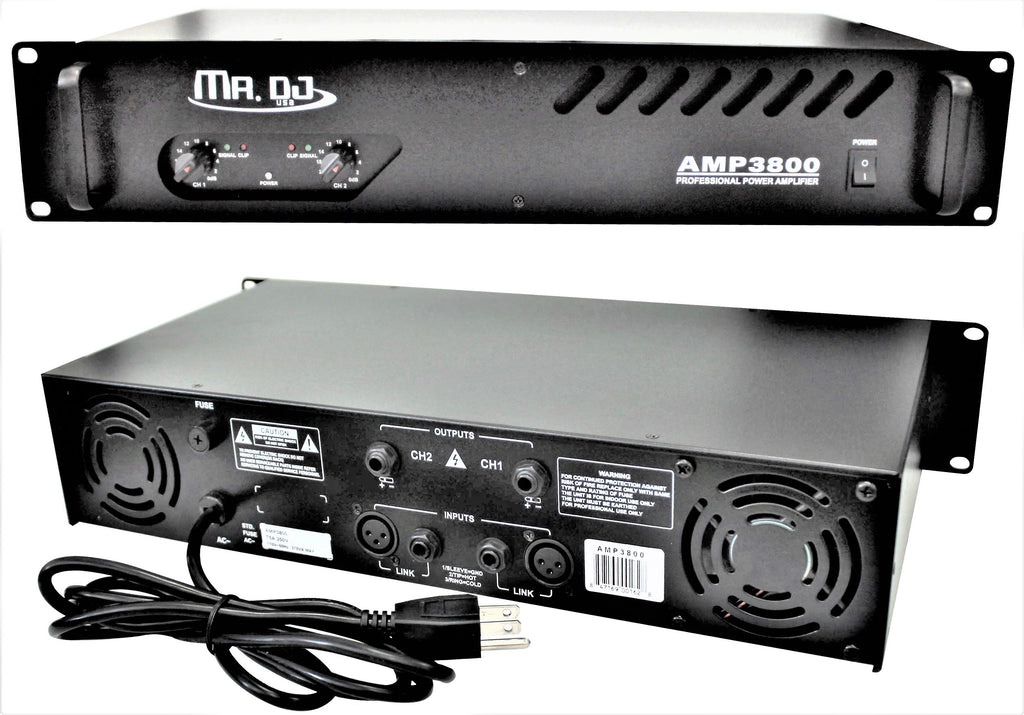 MR DJ AMP3800<BR/> 1000W MAX, 2-channel 360 watts RMS bridgeable dynamic series PA DJ power amplifier