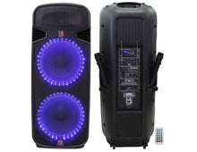 "Load image into Gallery viewer, Mr Dj PBX6300bat Professional Dual 15"" Bluetooth Karaoke Pa/Dj Rechargeable Battery Power Active Speaker"
