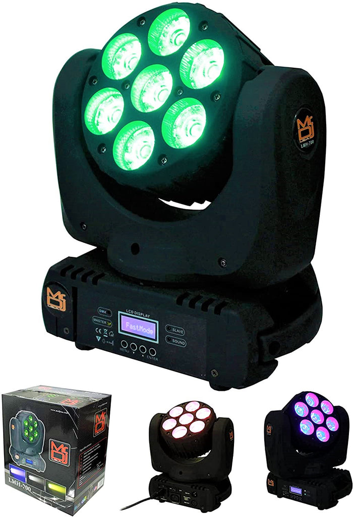 Mr. Dj LMH700 <br/>7x12W 4-in-1 RGBW LED Beam Wash Zoom Lamp Moving Head Light DJ Show Stage Lighting DMX for Show DJ Disco Bars Wedding Live House Nightclub Party Church Light