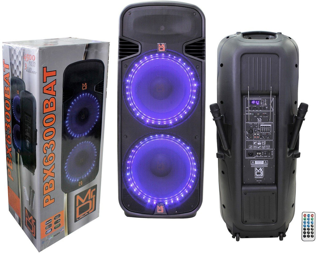 "Mr Dj PBX6300bat Professional Dual 15"" Bluetooth Karaoke Pa/Dj Rechargeable Battery Power Active Speaker"