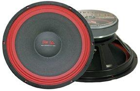 Mr. Dj WOOFER PA108 300-Watt Subwoofer, Black/Red
