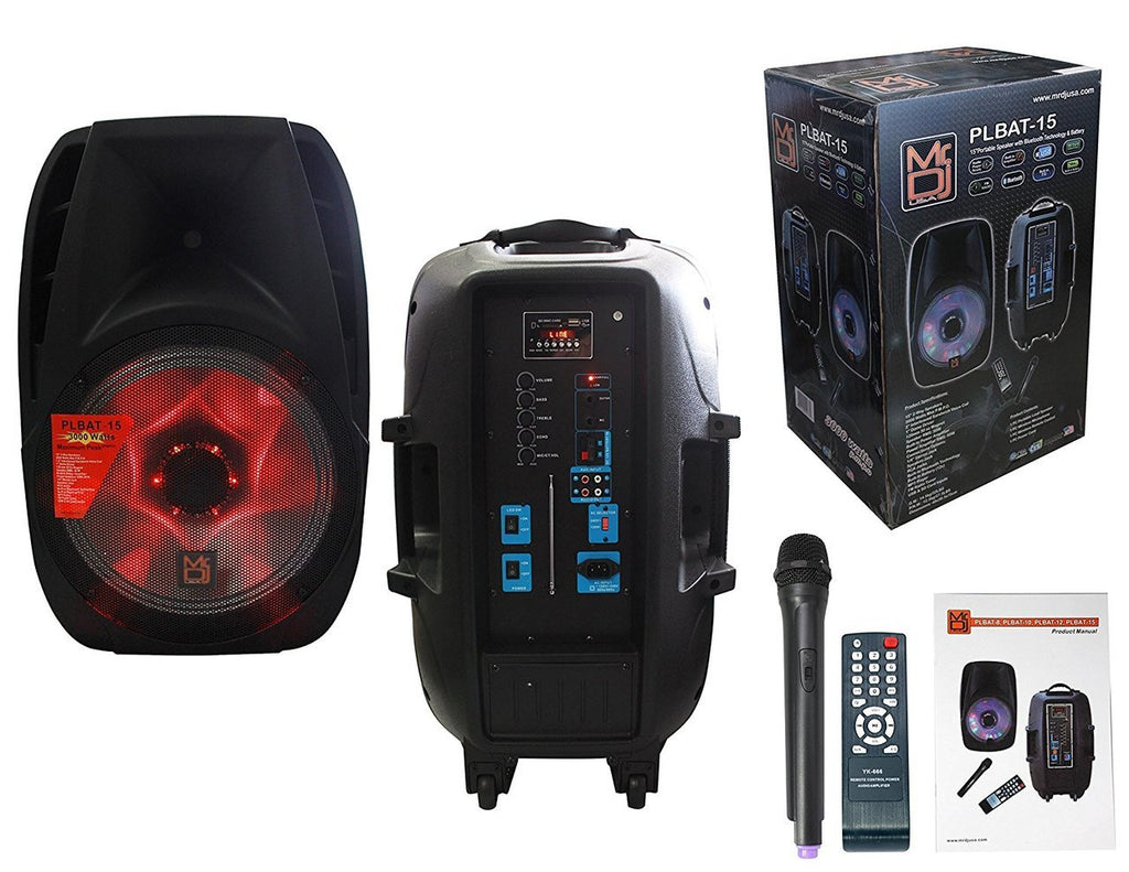 "MR DJ PLBAT15 <br/>15"" Bluetooth Portable Speaker, USB/SD/FM Radio, Rechargeable Battery, Medium"