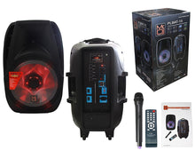 "Load image into Gallery viewer, MR DJ PLBAT15 <br/>15"" Bluetooth Portable Speaker, USB/SD/FM Radio, Rechargeable Battery, Medium"