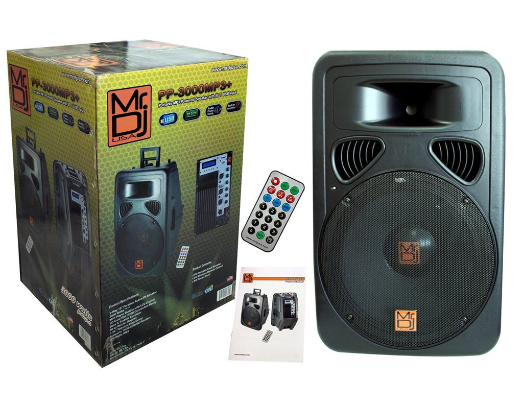 "MR DJ PP3000MP3<BR/>15"" Portable 2500 Watts MP3 Powered Speaker with Sd/USB Input"