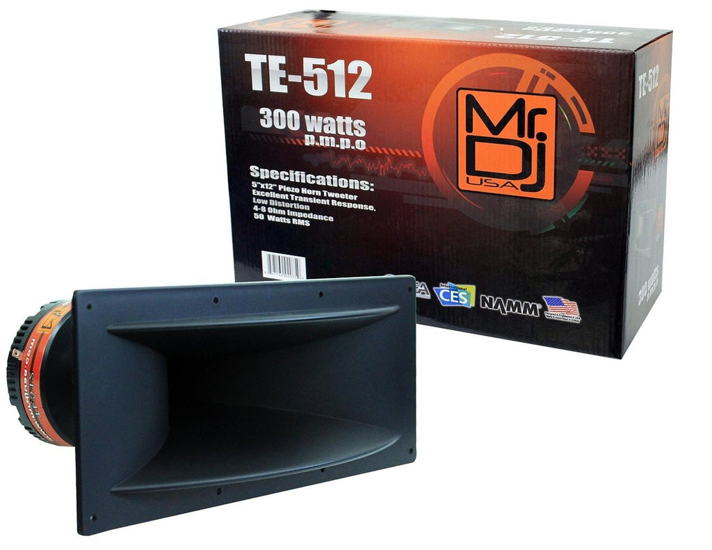 "MR DJ TE-512<br/> 5""x12"" 300 Watts Piezo Compression Horn Tweeters Driver for PA DJ Speakers"