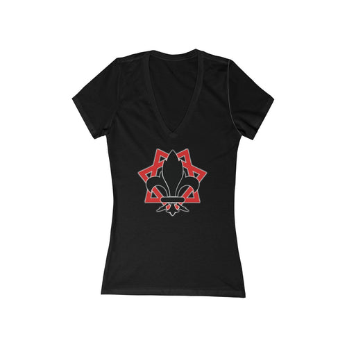 TTO Logo - Babalon Back - Women's Jersey Short Sleeve Deep V-Neck Tee