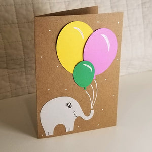Elephant with Balloons - Greeting Card