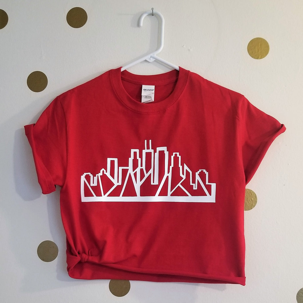 Skyline Tee (Red) [crop OR full length]
