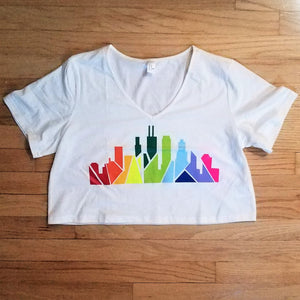 Rainbow Skyline V-Neck Crop Top