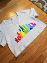 Load image into Gallery viewer, Rainbow Skyline V-Neck Crop Top