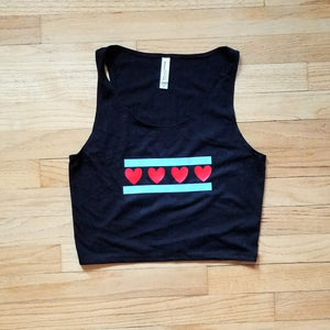 Chicago Flag with Hearts Crop Top