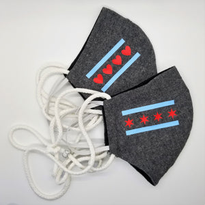 Chicago Flag (Hearts) Face Mask - Different Styles & Colors Available!