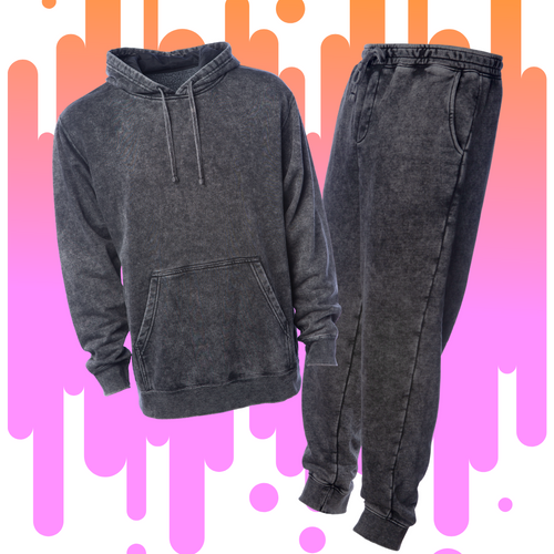 Distressed Black Mineral Wash Sweatsuit