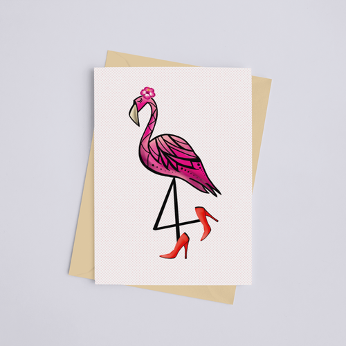 Sassy Flamingo with Heels Greeting Card