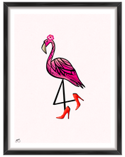 Load image into Gallery viewer, Sassy Flamingo with Heels Wall Art Print