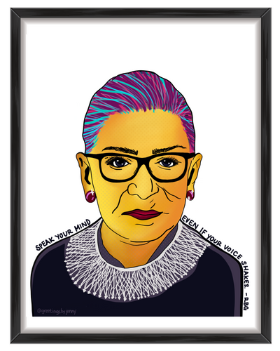 Ruth Bader Ginsburg bright vivid pop art print greetings by jenny