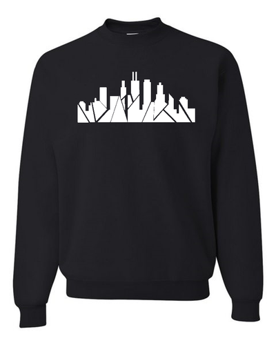 Chicago Skyline Crewneck with Inverted Skyline (no stars) [crop OR full length]