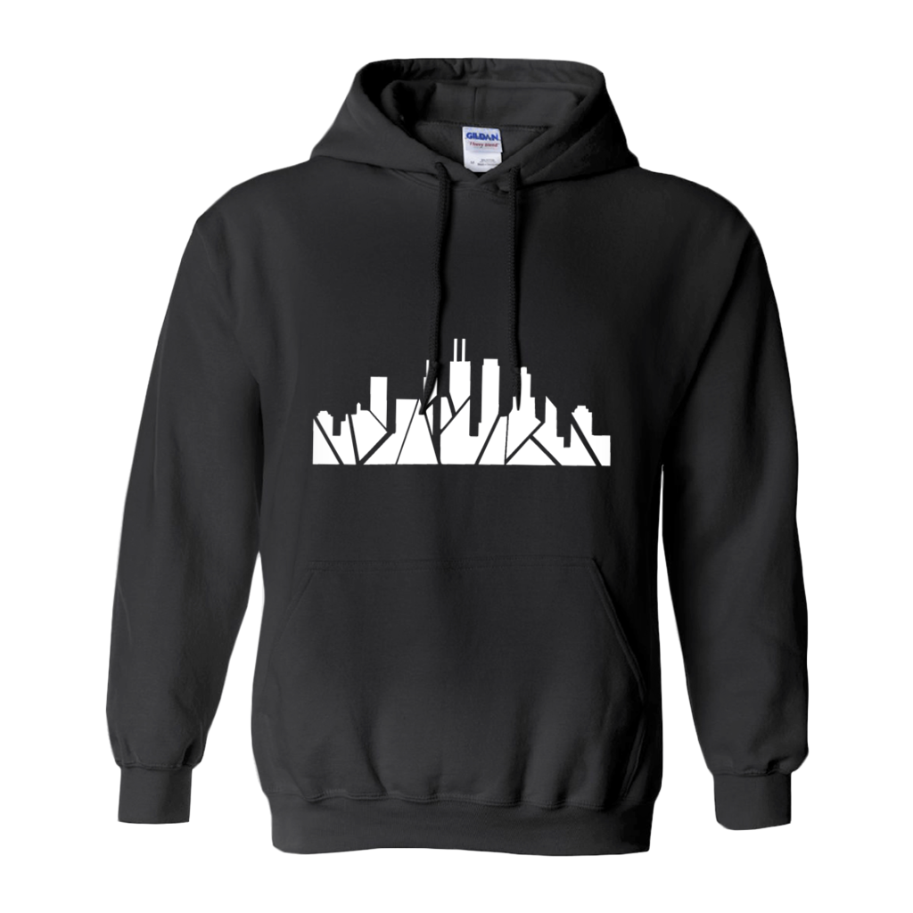 Chicago Skyline Hoodie with Inverted Skyline & Matching Stars on Sleeve