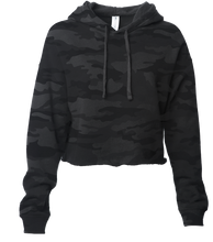 Load image into Gallery viewer, Women's Black Camo Crop Sweatsuit