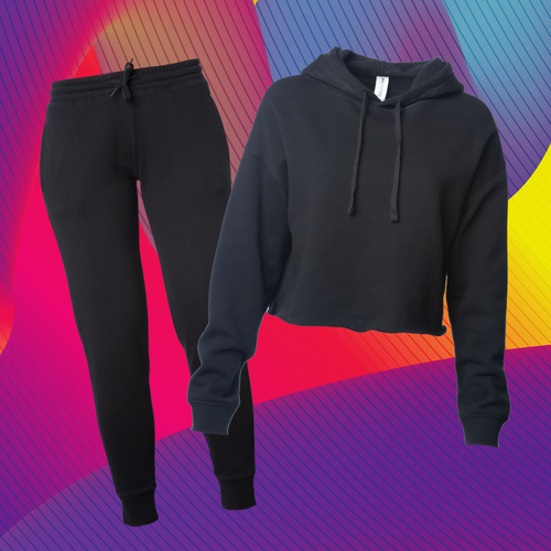 Women's Black Crop Sweatsuit