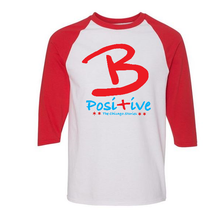 Load image into Gallery viewer, B Posi+ive Red, White & Blue Baseball Tee