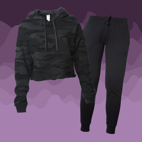Women's Black Camo Crop Sweatsuit
