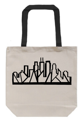 Chicago Skyline Tote - Canvas with Black Handles