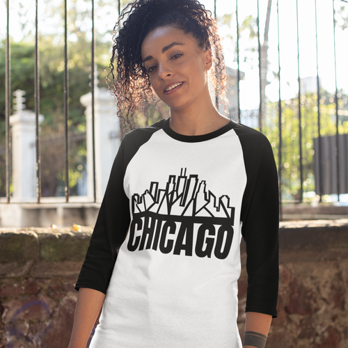 Chicago Skyline Baseball Tee w/