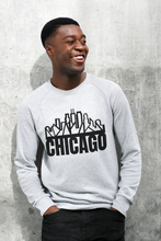 "Load image into Gallery viewer, Chicago Skyline Crewneck w/""Chicago"" Text"