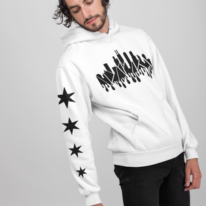 Chicago Drippy Skyline Hoodie with Stars - White