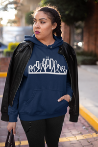 Chicago Skyline Hoodie with White Outline