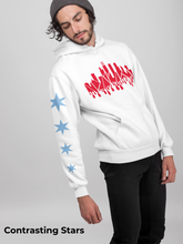 Load image into Gallery viewer, Chicago Drippy Skyline Hoodie with Stars - White
