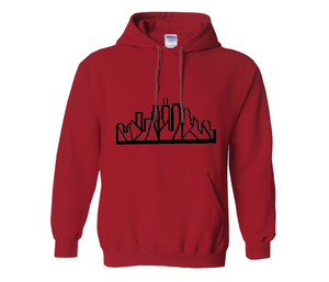 Chicago Skyline Hoodie with Black Outline