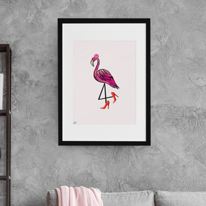 Sassy Flamingo with Heels Wall Art Print