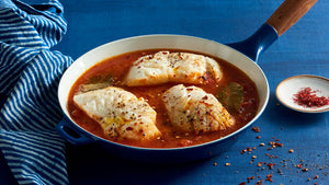 Poached Cod with Tomato Saffron Broth