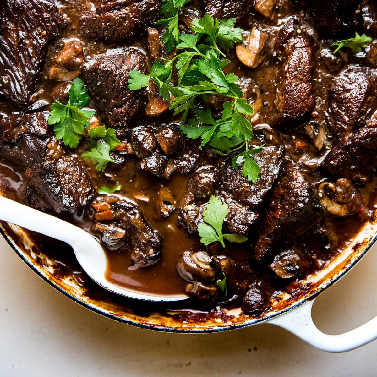 Wine Braised Beef and Mushrooms
