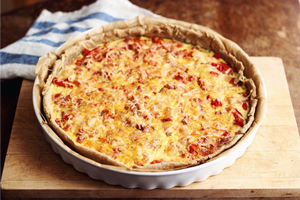 (V) Roasted Red Pepper, Asiago, Romano, and Pecorino Quiche