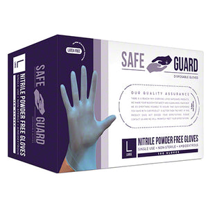 SafeGuard General Purpose Nitrile Powder Free Gloves - 1 Box (100 Gloves/Box)