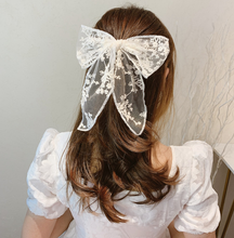 Load image into Gallery viewer, Retro Style Lace cloth bow tie hair ring elastic rope ponytail holder