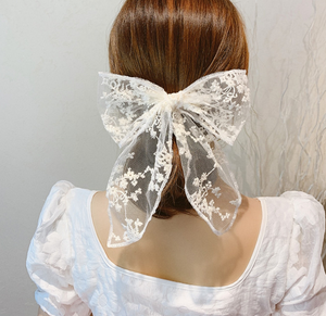 Retro Style Lace cloth bow tie hair ring elastic rope ponytail holder