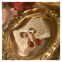 Load image into Gallery viewer, Baroque Style Exquisite Red Zicron Pendant Silver Earrings ear clip