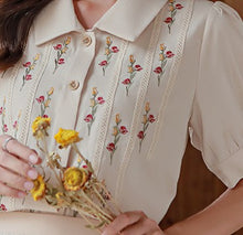 Load image into Gallery viewer, Retro Style Embroidered Top blouse shirt