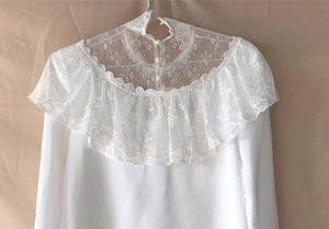 Edwardian Vintage Style Lace Blouse Top Shirt