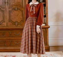 Load image into Gallery viewer, 40S Academia Plaid  Bow Tie Vintage Dress