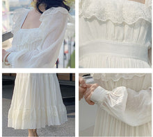 Load image into Gallery viewer, Cottagecore lace square collar vintage dress
