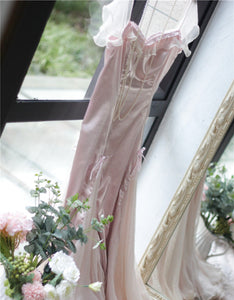 [Premium] Handmade Vintage Dreamy Princess Pink Bow Stitching Dress Gown