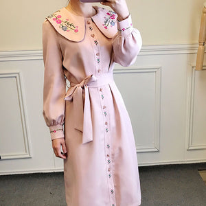 Retro Cottagecore Embroidery Trench Jacket
