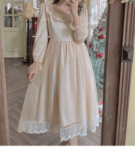 Retro Ethereal Fairycore Princess Lace Mesh Stitching Dress