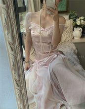 Load image into Gallery viewer, [Premium] Handmade Vintage Dreamy Princess Pink Bow Stitching Dress Gown