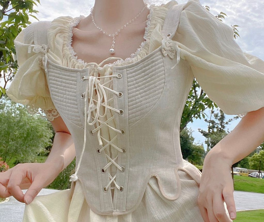 Handmade Vintage Period Drama Inspired lace up corset & Chemise